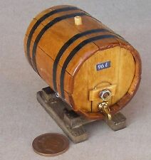 1:12 Scale Large Wooden 96L Beer Barrel On A Stand Dolls House Pub Accessory