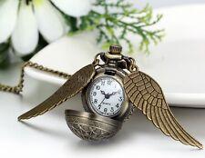Steampunk Vintage Bronze Ball Angel Wing Pocket Quartz Watch Chain Necklace Gift