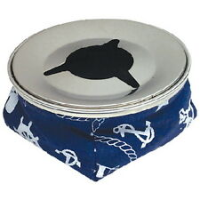 Navy Blue Non Slip Windproof Ashtray with Stainless Steel Top for Boats