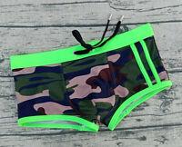 Seobean New Swim suit Men's boxer Swimming Trunks Swimwear army green for men