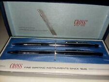 Cross Fine Writing Instruments Chrome New Set of 2 Original Vintage Cross Case