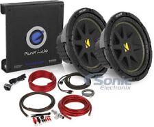 (2) Kicker 600W C104 Subwoofers + Planet Audio 1000W Amplifier Bass Package
