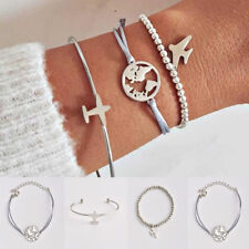 Fashion Women 3Pcs Silver Bracelet Set World Map Plane Adjustable Bangle Jewelry
