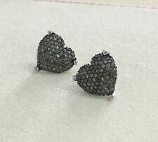 925 Sterling Silver 1.39 Ct Round Cut Brown Natural Diamond Heart Stud Earrings