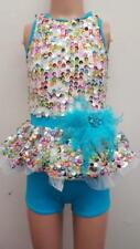 Dance Costume Small Child White Blue Sequin Shortall Jazz Tap Solo Competition
