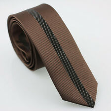 Coachella Ties Brown Stripe Black Beige Dot Necktie SLIM Tie Skinny Tie Narrow