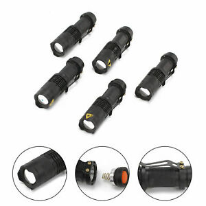 5x CREE Q5 LED Zoomable Focus Bright Flashlight Torch 1200LM Light AA/14500 Lamp