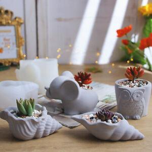 Elephant Flower Pot Silicone Mould Concrete Cement Plaster Planter Pottery DIY