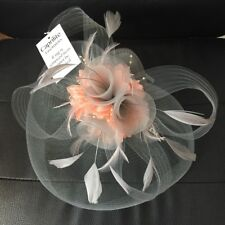 Silver Grey and Peach Pink Fascinator Hat Hatinator Headband Hair Clip Wedding