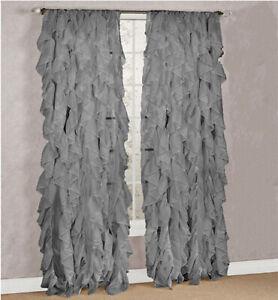 Cascade Sheer Voile Vertical Ruffled Window Curtain Panel Drape
