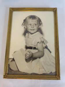 """Vintage Photograph 5x7"""" Black and White Girl with Curls Gold Metal Frame Picture"""