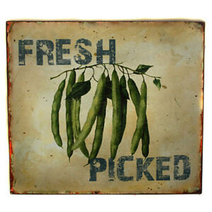 Kitchen Cafe Restaurant  FRESH PICKED Runner Beans -Metal Hanging Wall Sign SALE