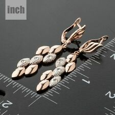 New Sparkly Auden Rhinestones Rose Gold Plated Long Drop Dangle Earrings Jewelry