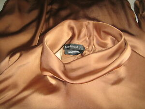 VINTAGE SILK BLOUSE BY LOUIS FERAUD IN CHOCOLATE BROWN BUTTON-UP MOCK NECK 12-14