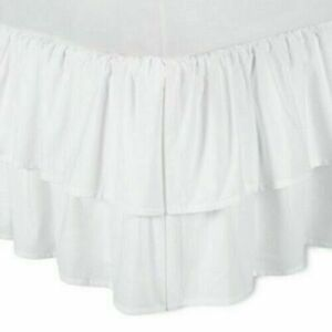 Simply Shabby Chic White Twin Size Bedskirt Dust Ruffle Tier Layer Country NEW