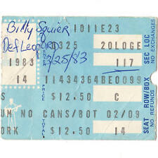 Def Leppard & Billy Squier Concert Ticket Stub Uniondale Ny 3/25/83 Pyromania