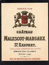 MARGAUX 3EGCC VIEILLE ETIQUETTE CHATEAU MALESCOT ST EXUPERY 1940 RARE§29/03/17§