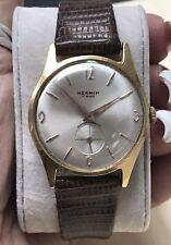 VINTAGE 18K Yellow Gold Hermin Date Wrist Watch MINT!!