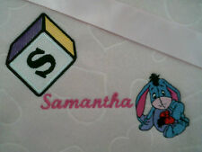 personalized boy / girl  pink or blue bassinet/ cot  Eeyore blankets