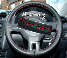 FOR MERCEDES E CLASS 95-99 ITALIAN LEATHER STEERING WHEEL COVER RED STITCH