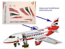 Custom British Airways Stickers for 3182 Passenger Plane Airport 3181 for LEGO