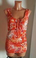 Sexy Top Shirt Luc.8 Gr. 36 S rot orange hibiskus Minikleid Longshirt Tunika NEU