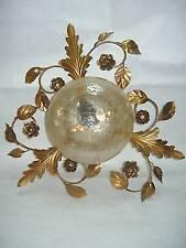 Plafoniera Lampadario oro Foglia in Ferro con vetro