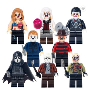 8 Pcs Minifigures Horror Movie Terror Jason Scream Killer Freddy Toys lego MOC