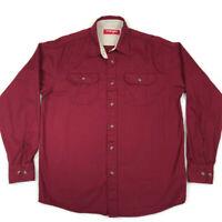 Wrangler Men's Long Sleeve Button Front Shirt RED Maroon Vintage MEDIUM Regular