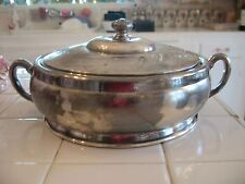 Beautiful Vintage Silverplate Round casserole Dish W Lid Etched Floral Homan Co.