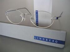 NEW! RIMLESS LINDBERG AIR TITANIUM FRAMES BLUE+SILVER PAPERCLIP HINGES, SZ.150