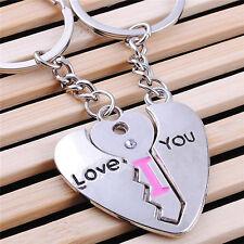 """I Love You"" Heart + Key Couple Key Chain Ring Keyring Keyfob Lover Gift 2 PCS"