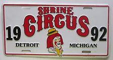 Detroit Michigan 1992 SHRINE CIRCUS CLOWN  BOOSTER License Plate