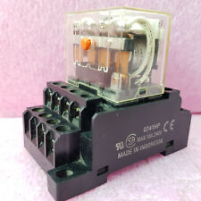 Omron LY4I4N 24VAC 14 Pin 10A 240VAC 28VDC Ice Cube Relay Coil W/ PTF14A-E Socet