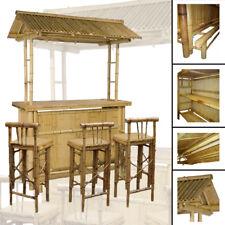 4tlg. Bar RIVAS + Bambus Theke Tresen Barhocker OUTDOOR Cocktailbar Gartenmöbel