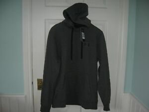 BNWT MENS UNDER ARMOUR RIVAL FLEECE LINED PULLOVER FITTED GOLF HOODIE L GREY
