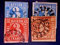 CatalinaStamps: Bavaria Stamps #2(2), 5 & 10 Used, SCV=$17.50, Lot #A61-2