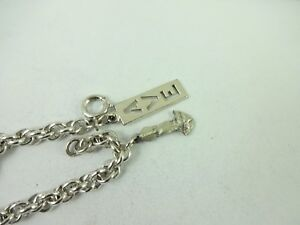 """Sterling Silver Charm Bracelet With 2 Creed Charms Holy Spirit & AVE  7"""" 14.0 Gr"""
