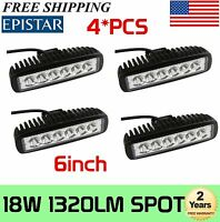 4x 6Inch 18W LED Work Light Bar SPOT Lamp Offroad Driving ATV SUV UTV Single Row