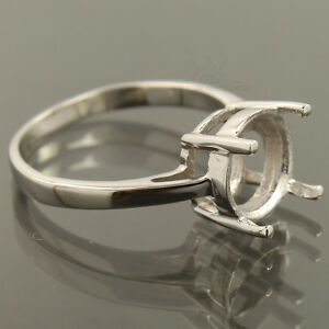 Jewellery Ring Sterling Silver 925 Solitaire Semi-Mount Engagement 10 mm Round