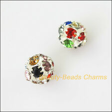4Pcs Colored Crystal Silver Plated Round Ball Loose Spacer Beads Charms 8mm