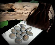 13 Witches River Stone Runes and Bag Witch Wicca Pagan Divination Gift Yule