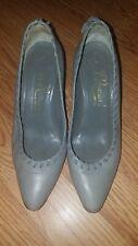 Di Romani Sz. 5 B Soft Vero Cuoio Grey Leather high heels, Italy, weave & fringe