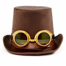 Steampunk Top Hat and Goggles Brown Faux Suede Adult One Size