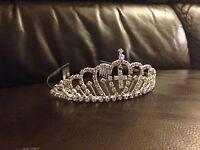 TIA01 1st Holy Communion Crystal/Diamante Comb Tiara Headband w/Cross Charm