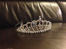 TIA01 1st Holy Communion Crystal/Diamante Comb Tiara Headband w/Cross Charm