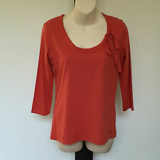 'ESPRIT' BNWT SIZE 'S' RED LONG SLEEVE COTTON TOP WITH GATHERED NECKLINE