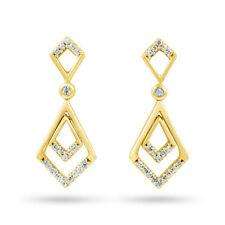 Drop/Dangle Yellow Gold SI1 Fine Diamond Earrings