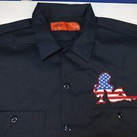 NEW NWT DICKIES USA FLAG MUD FLAP PIN UP GIRL GARAGE MECHANIC RACING WORK SHIRT