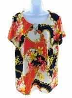 Tacera Womens Multi Color Multi Pattern Short Sleeve Top Casual Plus Size 1X